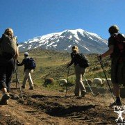 Mountaineers Climbing Mount Ararat near the Ararat highlands.