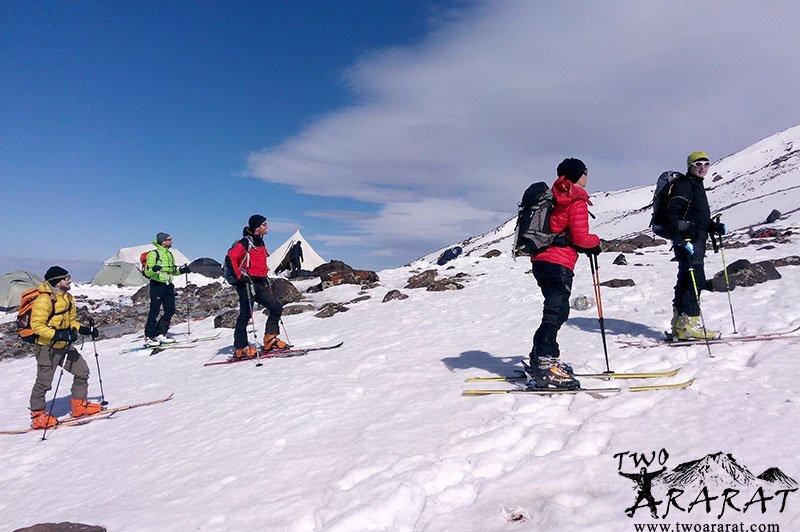 A group of mountaineers skiing on Mount Ararat