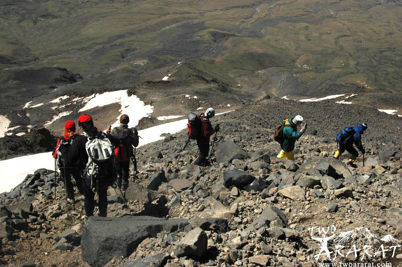 Climbers descending to the second camping area of Mount Ararat.