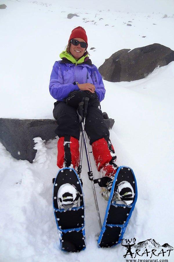 Ararat Trekking Skier Mountaineer Resting On Mount Ararat