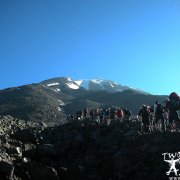 Mountaineers hiking in the camp area on Mount Ararat 4200 meters.